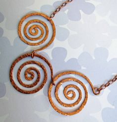 Triple Swirl Copper Necklace by ATBcreations on Etsy, $30.00