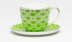 T2 Tea | Madrid Cup & Saucer - Green & White