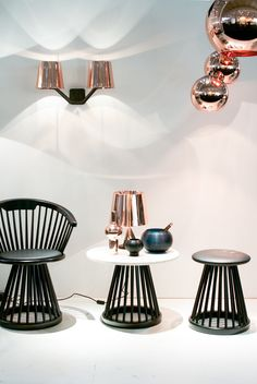 Tom Dixon's stand at Maison & Objet 2014 - we love the shimmering copper touches :-) See more from the British designer here: http://www.nest.co.uk/browse/brand/tom-dixon