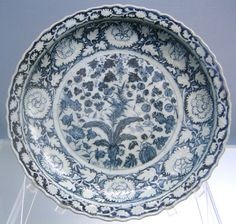 Foliated dish with underglaze blue design of melons, bamboo and grapes, Jingdezhen ware, Yuan, 1271-1368, Shanghai Museum