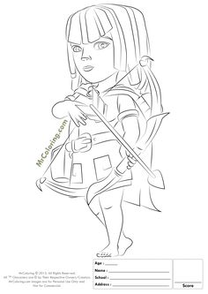 Free Printable Clash of Clans Archer Coloring Pages -1