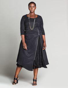 Isolde Roth Zip front midi dress in Black