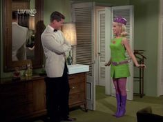 """Remember when Jeannie is invited to a relly groovy, far out party and this is what she found when out shopping. The best is how the """" Jeannie dance.""""  spread like wild fire to this really happening, cool cat party."""