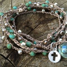 Crochet wrap bracelet with turquoise picasso czech beads, galvanized silver seed beads sterling silver cross seafoam czech bauble closure