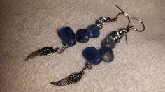 Blue kyanite nuggets with wings earrings