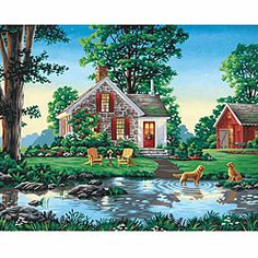 Paint Works 'Summer Cottage' 20x16-inch Paint by Number Kit   Overstock.com Shopping - The Best Prices on Dimensions Paint by Number