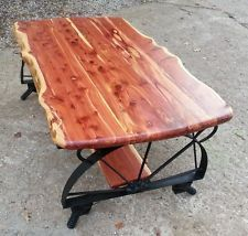 cedar coffee table with wagon wheel rustic More