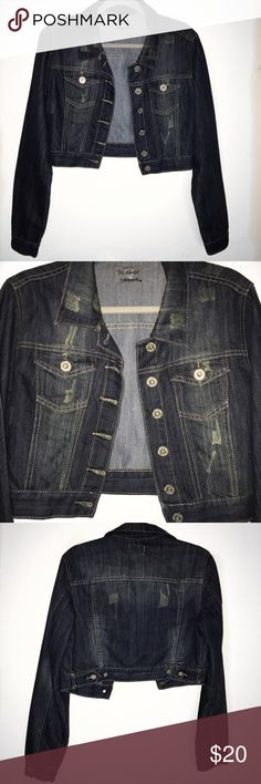 Cropped Denim & Distressed Jacket This is a denim lightly distressed cropped jacket! This jacket does not specify the size but it did fit kind of big on me (but keep in mind I'm very small) so I would say it's more on the medium side! Jackets & Coats Jean Jackets
