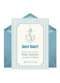 """Welcome guests aboard an """"Ahoy Baby"""" themed baby shower. Send customized invites to get the sails and stories started."""