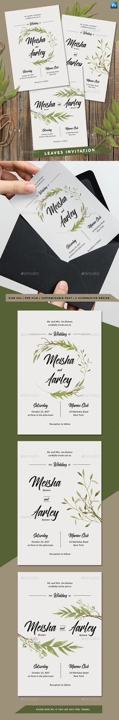 Buy Leaves Invitation by arifpoernomo on GraphicRiver. Invitation for your wedding, engagement, anniversary, birthday, etc! File features : Adobe Photoshop (PSD File) i. Invitation Card Birthday, Anniversary Invitations, Unique Wedding Invitations, Invitation Card Design, Wedding Invitation Templates, Baby Shower Invitations, Invites, Stencil Templates, Design Templates