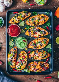 These loaded Mexican Sweet Potato Skins are stuffed with black beans, corn, pepper and topped with vegan cheese. Serve with homemade avocado aioli for a tasty, easy and healthy dinner! This post contains step-by-step pictures. Gluten Free Recipes For Dinner, Easy Dinner Recipes, Appetizer Recipes, Vegetarian Recipes, Cooking Recipes, Yummy Appetizers, Healthy Recipes, Crispy Sweet Potato, Sweet Potato Skins