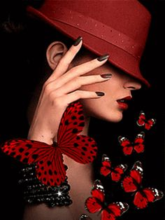 Elegance with beautiful butterflies Beautiful Gif, Beautiful Pictures, Gif Bonito, Red Hats, Shades Of Red, Beautiful Butterflies, Belle Photo, Lady In Red, Fantasy Art