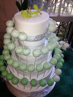 Wedding Cake Pop Tier white and dark to light green with silver sprinkles