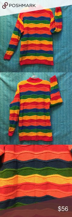 "Vintage Turtleneck Sweater Colorful, bright, beautiful oversize turtleneck sweater.  A rainbow of colors to dress up or wear with jeans! YOU will brighten the room & be noticed! Ramie-55% Cotton-45%  Approx: *A/pit-A/pit-19"" *Length-28"" *Shoulders-21"" *Bottom circumference-38.5"" *Sleeves: Length-21 ½"" Wrist circumference-7 ½"" Vintage Sweaters Cowl & Turtlenecks"