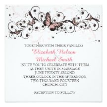 Romantic Pink Butterfly Swirls Wedding Invite