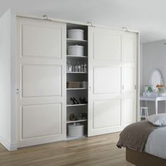 Just to show an example of Closet with Sliding Doors - Built in package closet can have sliding doors so as not to get in the way of the front French doors Taupe Bedroom, Home Bedroom, Bedrooms, Build A Closet, Walk In Closet, Closet Doors, Interior Design Inspiration, Room Inspiration, Garage Guest House