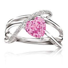 Created Pink Sapphire Heart Gemstone & Diamond Ring