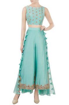 Buy Pastel Blue Color Plazo Dress by Akanksha Singh at Fresh Look Fashion Kurta Designs, Kurti Designs Party Wear, Blouse Designs, Look Fashion, Indian Fashion, Fashion Outfits, Indian Attire, Indian Outfits, Indian Gowns Dresses