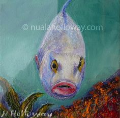 """Accused of Oceanic Treason"" by Nuala Holloway - Oil and Sand on Canvas #Coral #Fish #OilPainting"