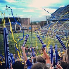 Endzone view of streamers flying during JMU's home game against St. Francis. (courtesy Erika Hineman)