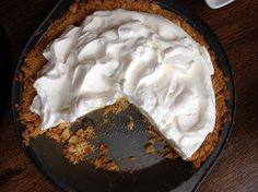 Bill Smith's Atlantic Beach Pie is based on a recipe for lemon pie, a staple of the North Carolina coast. Saltine cracker crust - Crooks Corner Restaurant, Chapel Hill NC