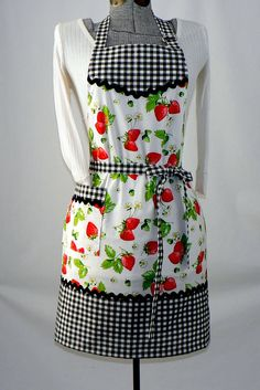 etsy Women's Full Retro Kitchen Apron - Chef's Apron - Gingham Strawberries.