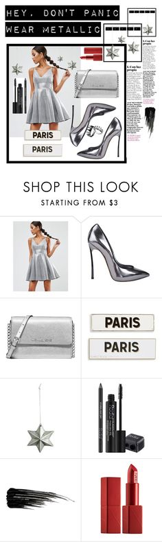 """""""Wear Metallic"""" by lolipopfashion ❤ liked on Polyvore featuring beauty, ASOS, Casadei, Michael Kors, Rosanna, Rodial, Urban Decay and NARS Cosmetics"""