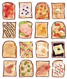 「いろいろなトースト」/「クルスン」のイラスト [pixiv]