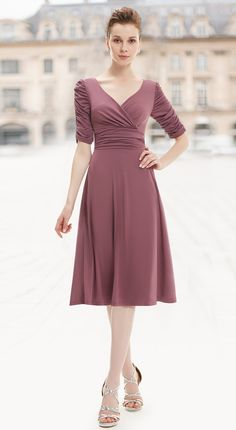 Sexy V-neck 3/4 Sleeve High Stretch Short Casual Dress