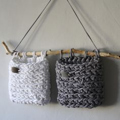 """[Werbung] Badutensilo set """"white and gray"""" or in desired colors approx. 15 x 15 or by prior agreement also other sizes possible. Source by textiloshop Crochet Home, Diy Crochet, Crochet Mandala Pattern, Crochet Patterns, Baby Boy Room Decor, Diy Handbag, T Shirt Yarn, Homemade Crafts, Knitted Bags"""