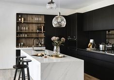 Here are the Black White Wood Kitchens Design Ideas. This post about Black White Wood Kitchens Design Ideas was posted under the Kitchen category by our team at May 2019 at pm. Hope you enjoy it and don't . Ranch Kitchen Remodel, Budget Kitchen Remodel, Kitchen Cabinet Remodel, Kitchen On A Budget, Kitchen Remodeling, Kitchen Cabinets, Island Kitchen, Dark Cabinets, Kitchen Sinks