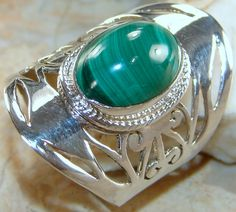 Malachite Ring | Malachite Silver Ring | Jewelsjaipur.com