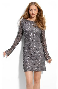 Beautiful sheer sleeves on this sequined dress by Aidan Mattox at Nordstrom!