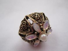 Vintage Fashion Ring Gold Filigree Tone with Faux Opals Nacre Rhinestone Adjustable ring Beautiful Statment Ring Lamour Dantique Ring by LAmourDAntique Newly listed Vintage Fashion