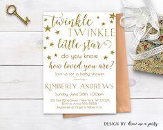 BABY SHOWER INVITATION , Twinkle Twinkle Little Star , Twinkle Little Star Invite , Printable , Gender Neutral Baby Shower Invitation by DrawMeAParty on Etsy https://www.etsy.com/listing/490774083/baby-shower-invitation-twinkle-twinkle