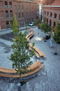 Factory Furniture were approached to take the French architects designs through to the manufacturing stage. The final product comprised of differing lengths of picnic table with integral seating, each curved at different radii. Each section was broken down into more manageable modules which could then be bolted together. The project posed various challenges. http://factoryfurniture.co.uk/index/projects/tournai-belgium-factory-furniture-bespoke.html