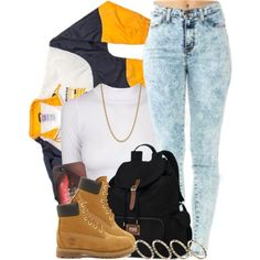 A fashion look from October 2013 featuring Apex jackets, Timberland ankle booties and Victoria's Secret backpacks. Browse and shop related looks.