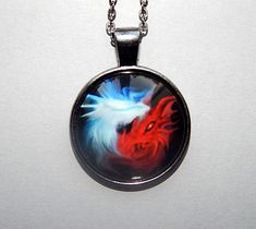 Red white dragons pendant necklace keychain Red white dragons