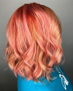 Peach Red & Blushing Coral  by @amylara_squaresalon #lasvegashairstylist. As a natural red blonde, I am lusting over this color design! Gimme! #hotonbeauty
