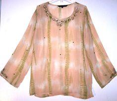 Kaaku Top M / L Beige Sheer Boho Hippie Kurta Beads Sequins Ethnic Tunic Shirt L #Kaaku #Tunic #Casual