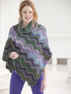 Lagoon Ripple Poncho using Lion Brand Textures worsted weight #4 yarn
