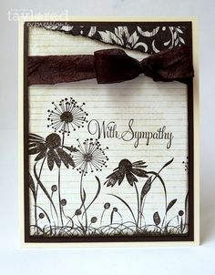 Stamps: Discover Your Wings and sentiment from Embrace Beauty (Taylored Expressions)  Ink: Chocolate Chip (Stampin' Up!)  Cardstock: Choice Buttercream (TE); Chocolate Chip (SU!)  Patterned Paper: Bayberry and Queen Bee (Pink Paislee)  Fibers: Dark Brown Taffeta Ribbon (generic)