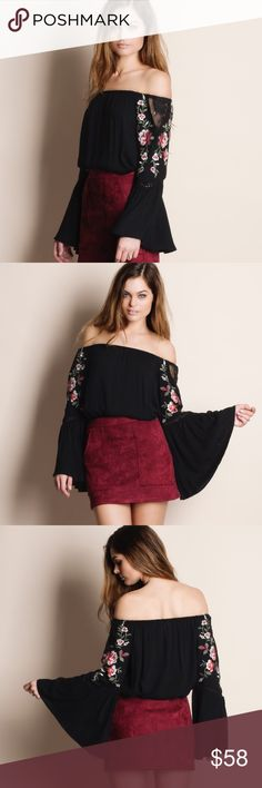 """Off Shoulder Embroidered Top Off shoulder Embroidered top. Runs large. This is an ACTUAL PIC of the item - all photography done personally by me. Model is 5'9"""", 32""""-24""""-36"""", wearing the size small. NO TRADES DO NOT BOTHER ASKING. Bare Anthology Tops Blouses"""