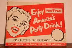 Vintage Nehi Par-T-Pak Sign, America's Drink, Nehi Soda, Flavors, 1950s by CaffeinatedSquirrel on Etsy