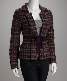 Take a look at this Shu Shu Plum Sash Button-Up Sweater by Women's Blow-Out Sale on #zulily today!