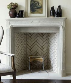 9 Eye-Opening Tips: Simple Fireplace Benjamin Moore light brick fireplace.White Faux Fireplace fireplace living room how to build.Tv Over Fireplace Bedroom. Herringbone Fireplace, Stone Fireplace Mantel, Herringbone Tile, Home Fireplace, Marble Fireplaces, Fireplace Surrounds, Fireplace Design, Fireplace Tiles, 1930s Fireplace