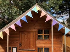 Pretty multicoloured pastel rainbow bunting - can be used inside or outside - ideal for a nursery, playroom, party or wedding : 2 metres 10 flags Rainbow Bunting, Fabric Bunting, Outdoor Decorations, Treehouse, Play Houses, Playroom, Pastel, Wall Decor, Nursery