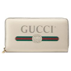 Women's Gucci Logo Leather Zip-Around Wallet (11.213.305 IDR) ❤ liked on Polyvore featuring bags, wallets, mystic white, leather shopper handbags, white leather wallet, gucci wallet, vintage leather bags and shopper handbags