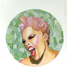 P!nk Rocking Out Artist Print, Watercolor and Ink Pink Painting Prints, P!nk Musician Art Print, Artist Pink Singer Watercolor Pencil Art by MariaOglesbyArt on Etsy