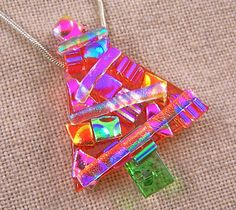 Christmas Tree Brooch Pin  Dichroic Fused Glass  by HaydenBrook, $21.99